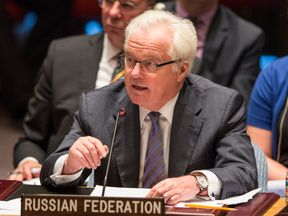 Vitaly Churkin speaks at a UN Security Council meeting in 2014