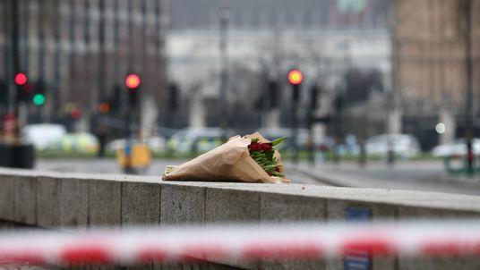 Flowers outside the Queen Elizabeth II Centre in London