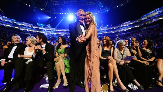 Bruce Forsyth and Tess Daly during the 2011 National Television Awards at the O2 Arena, London