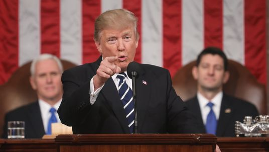 President Trump points at the audience during his first speech to a joint session of Congress. Pic: Getty