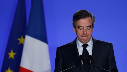 Francois Fillon, former French prime minister, member of the Republicans political party and 2017 presidential election candidate of the French centre-right, makes a declaration to the media at his campaign headquarters in Paris, France, March 1, 2017