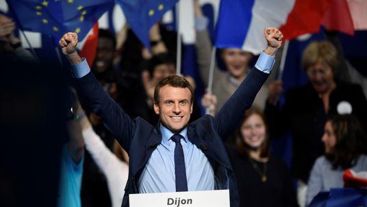 Emmanuel Macron at a rally in Dijon