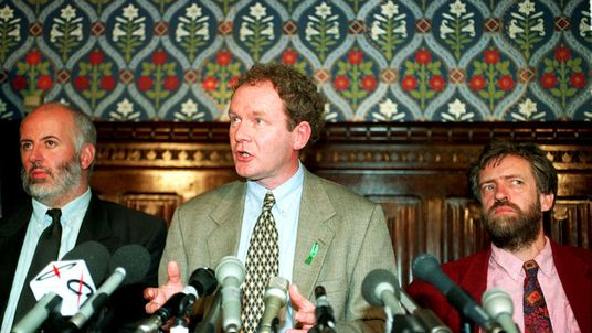 Martin McGuinness attending a news conference in the House of Commons to mark the first anniversary of the IRA ceasefire in 1995