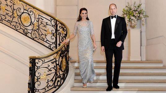 The Duchess of Cambridge (centre) attends a reception at the British Embassy in Paris, during an official visit to the French capital city. PRESS ASSOCIATION Photo. Picture date: Friday March 17, 2017. See PA story ROYAL Cambridge. Photo credit should read: Ian Vogler/Daily Mirror/PA Wire