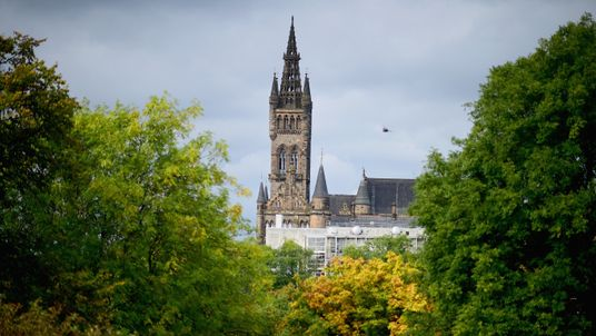 Glasgow University tower from Kelvingrove Park