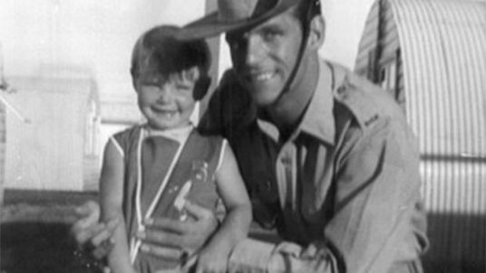 Three-year-old Cheryl Grimmer with her father, John, who has since died. The toddler disappeared outside the change shed at Fairy Meadow Beach in New South Wales. Pic: New South Wales Police