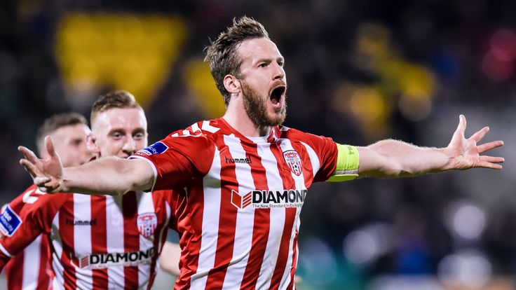 Derry City's captain Ryan McBride scoring on 10 March