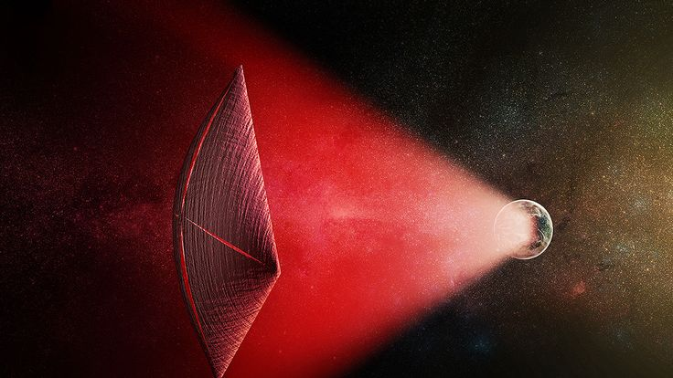 A light-sail powered by a Fast Radio Burst from the surface of a planet, which scientists say could be proof of aliens