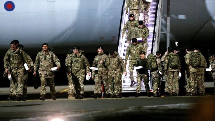 British troops arriving in Estonia on Friday, part of a NATO move to reinforce its eastern flank in a bid to deter a militarily resurgent Russia, the military said.