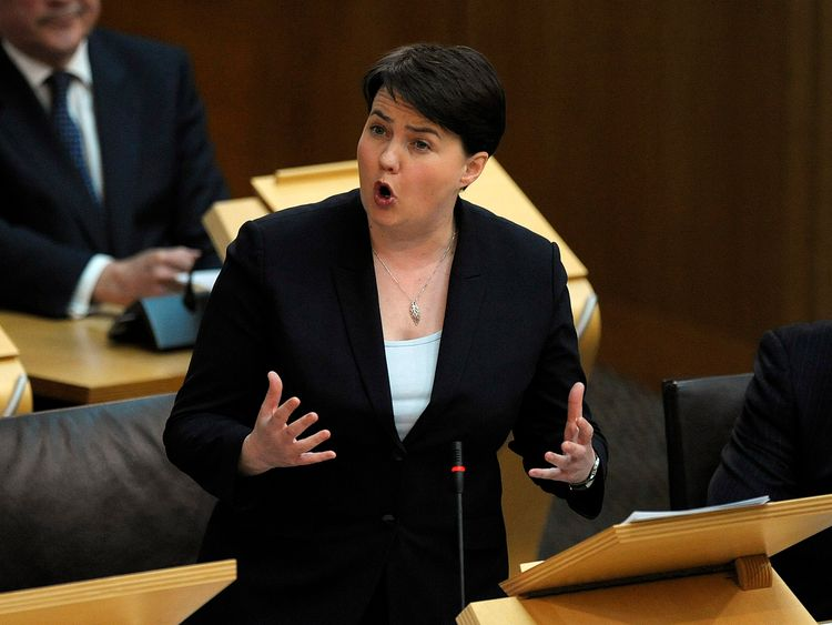 Scottish Conservative leader Ruth Davidson attends a debate on a second referendum on independence at Scotland's Parliament in Holyrood, Edinburgh.