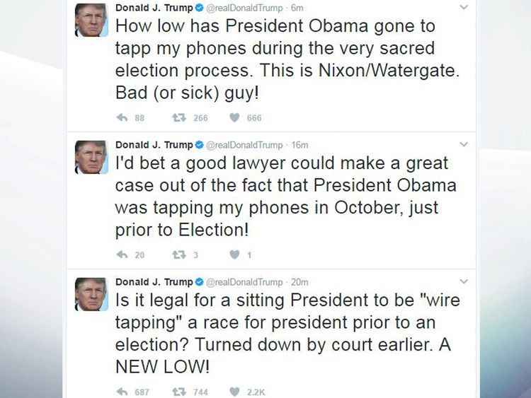 Mr Trump has posted a series of tweets about the wire tap claims