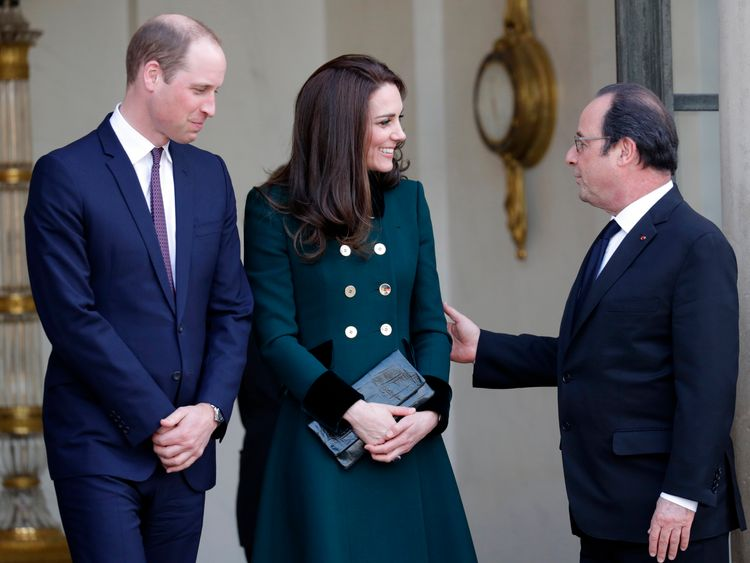 French President Francois Hollande accompanies Kate and William in Paris