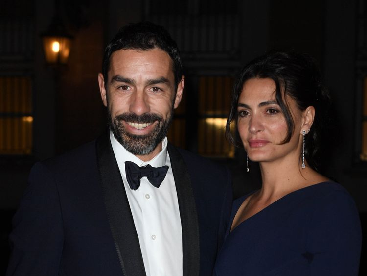Former French footballer Robert Pires and his wife Jessica Lemarie-Pires were also at the dinner
