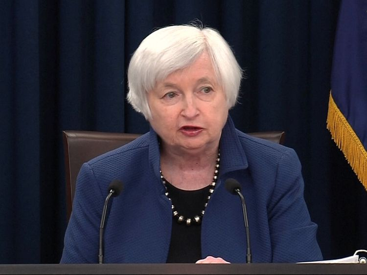Federal Reserve chair Janet Yellen at a press conference in Washington as rates are increased