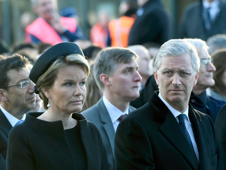 Queen Mathilde and King Philippe at the ceremony at Brussels airport