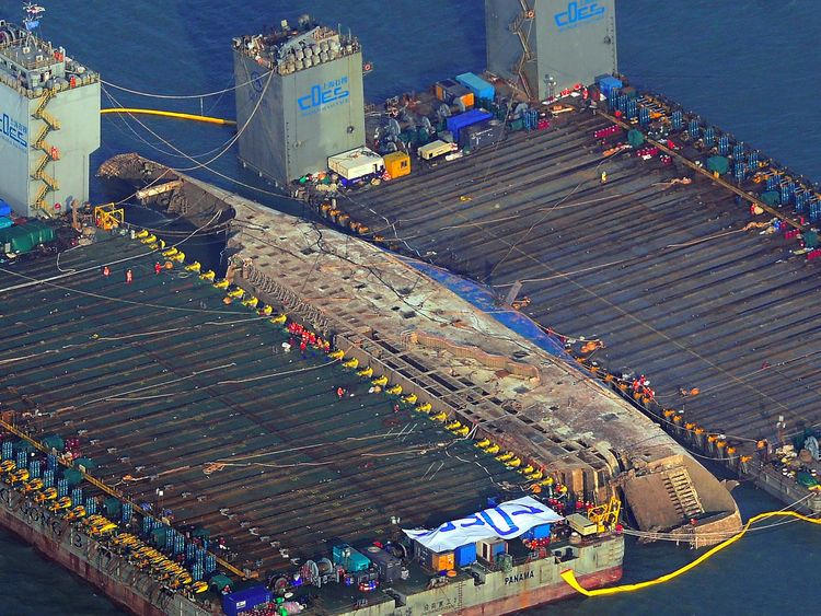 The damaged Sewol ferry after it was raised on 23 March 2017, nearly three years after it sank with the loss of more than 300 lives