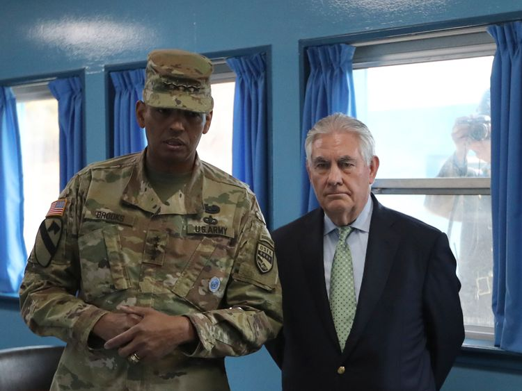 Rex Tillerson was briefed by US Gen. Vincent K. Brooks