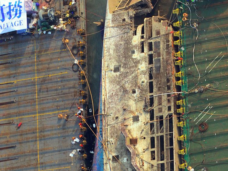 An aerial image of the damaged Sewol ferry which sank off the island of Jindo in April 2014 with the loss of more than 300 lives.