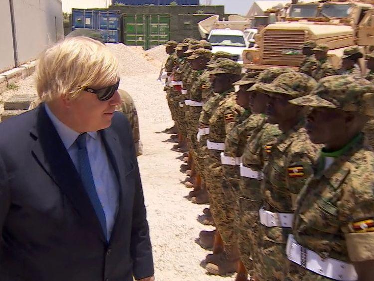 Boris Johnson meeting troops during his visit to Somalia