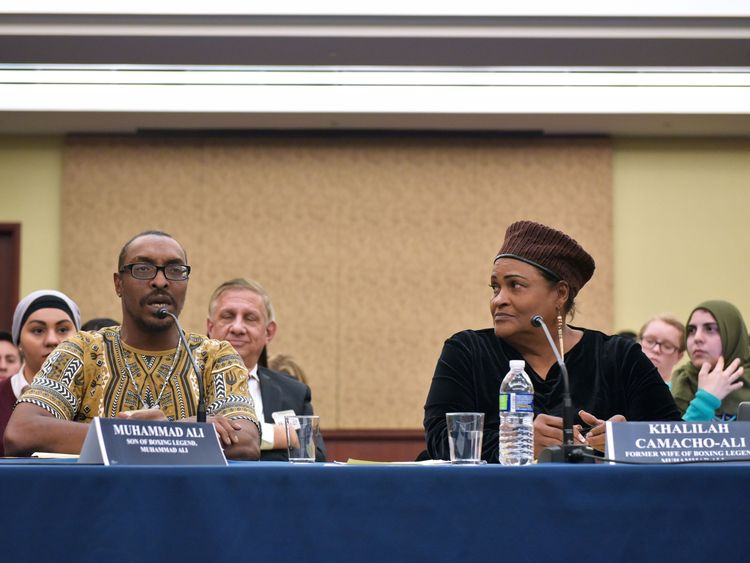 Muhammad Ali Jr speaks in Washington with his mother Khalilah Camacho-Ali