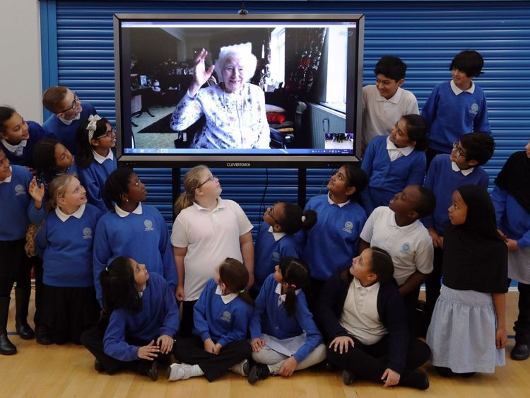 The children with Dame Vera on Skype