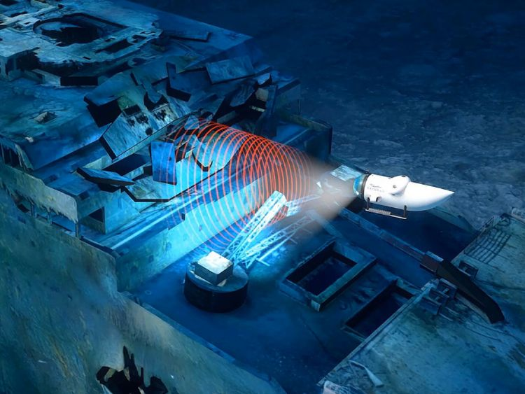 The submarine will sweep around the wreckage. Pic: Blue Marble Private