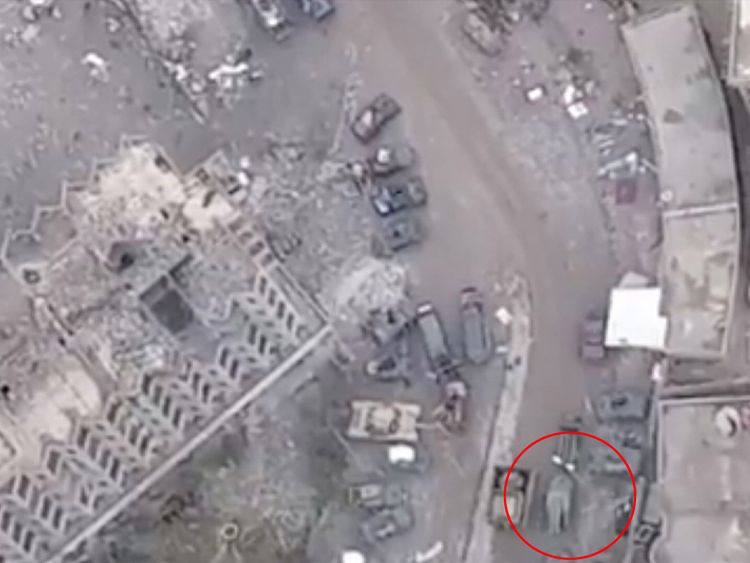 The vehicle two of the Sky crew sheltered inside is circled moments before the explosion