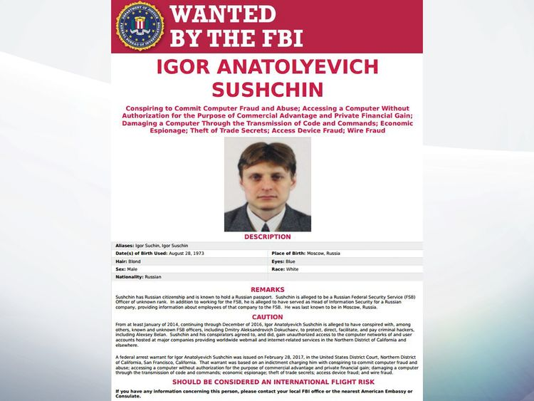 FBI wanted poster for Igor Sushchin