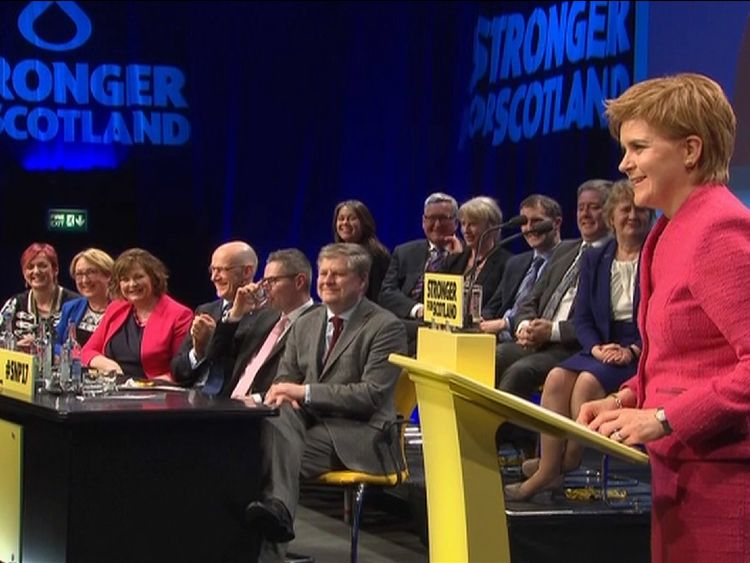 Nicola Sturgeon speaks to the party faithful