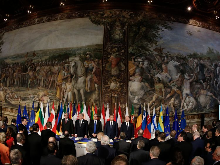 EU leaders stand inside Orazi and Curiazi hall