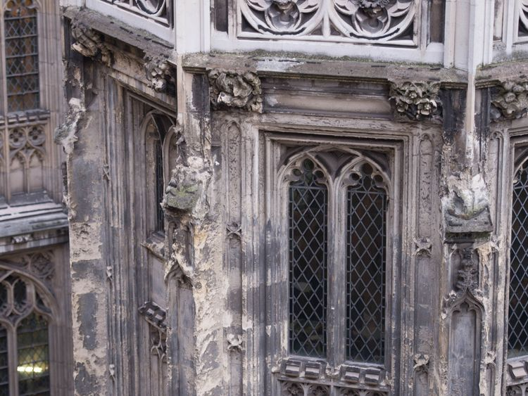 Crumbling stonework on the exterior of the Palace of Westminster, as MPs have been warned that it needs to be evacuated for multibillion-pound emergency repairs if it is to avoid the increasing risk of being ravaged by fire or swamped in a sewerage flood