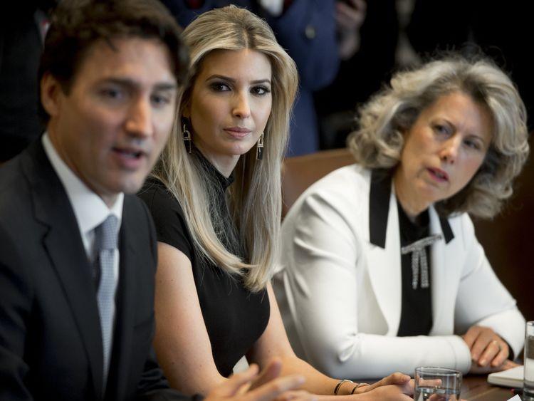 Justin Trudeau speaks alongside Ivanka Trump at the White House