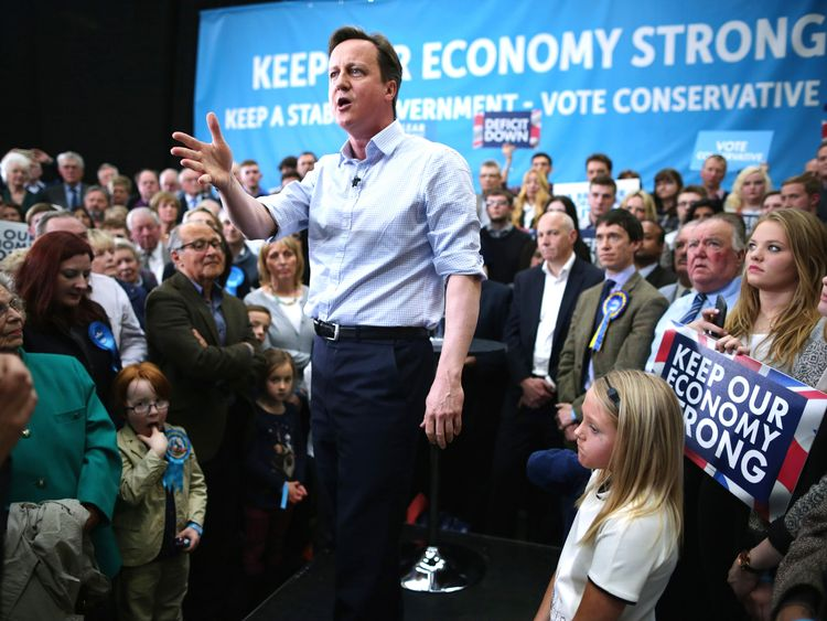 Prime Minister David Cameron addresses his campaign rally in 2015