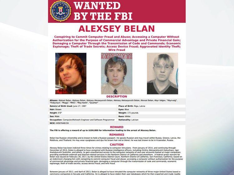 Alexsey Belan FBI poster