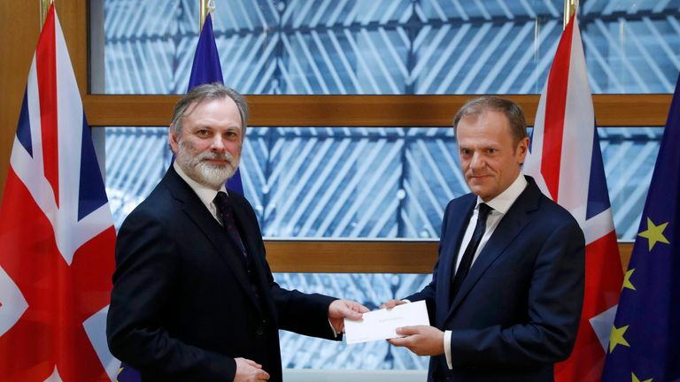 Britain's permanent representative to the European Union Tim Barrow delivers British Prime Minister Theresa May's Brexit letter to EU Council President Donald Tusk in Brussels BRITAIN-EU/ Britain's permanent representative to the European Union Tim Barrow delivers British Prime Minister Theresa May's Brexit letter to EU Council President Donald Tusk in Brussels