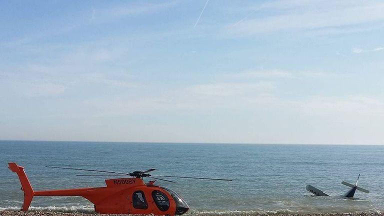 The plane crashed very close to the beach near Shoreham