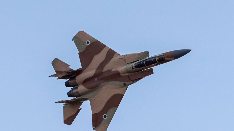 An Israeli F-15 fighter flies over a military base near Mitzpe Ramon File pic