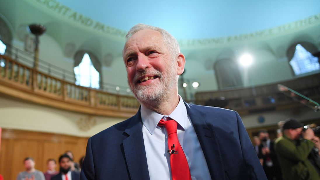 Jeremy Corbyn after speaking at an election campaign event in London.