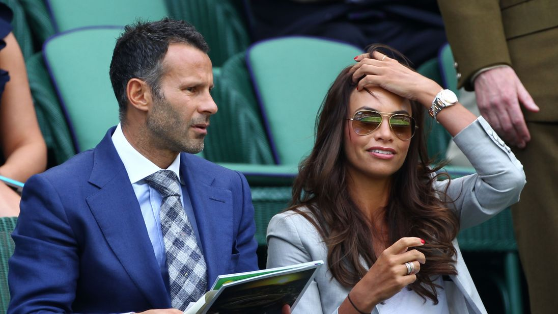2012: Ryan Giggs with his wife Stacey at the Wimbledon Lawn Tennis Championships