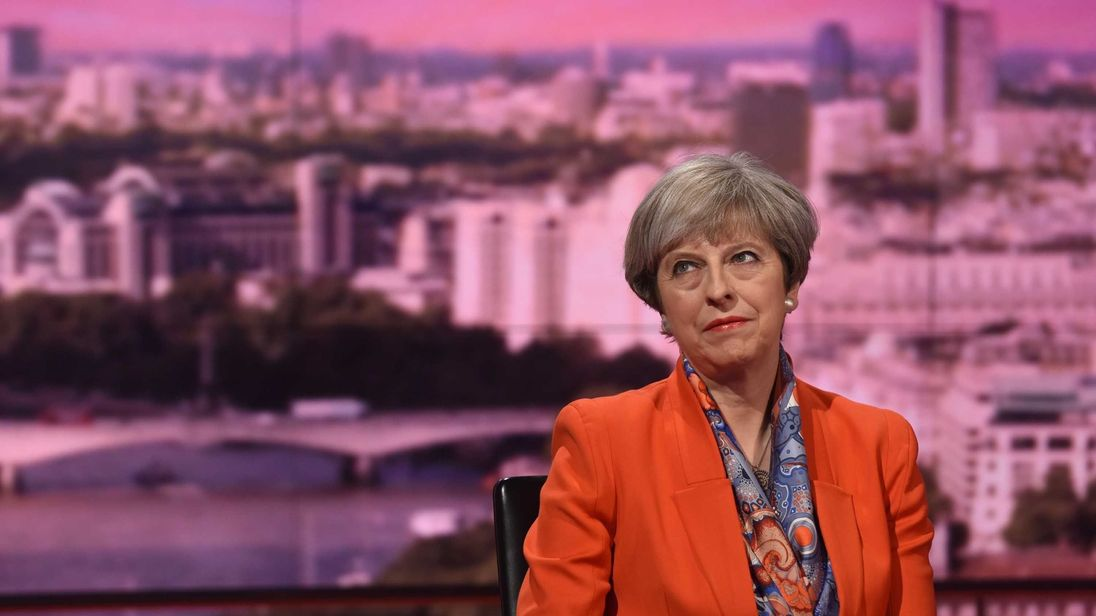Prime Minister Theresa May appearing on The Andrew Marr Show