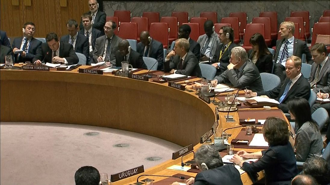 Russian Federation  vetoes Security Council resolution on alleged chemical attack in Syria