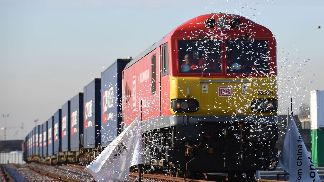 File photo dated 18/01/17 of the first freight train service from China to the UK arriving at DB Cargo's rail freight terminal in Barking, as the first service from the UK to China will depart on Monday.