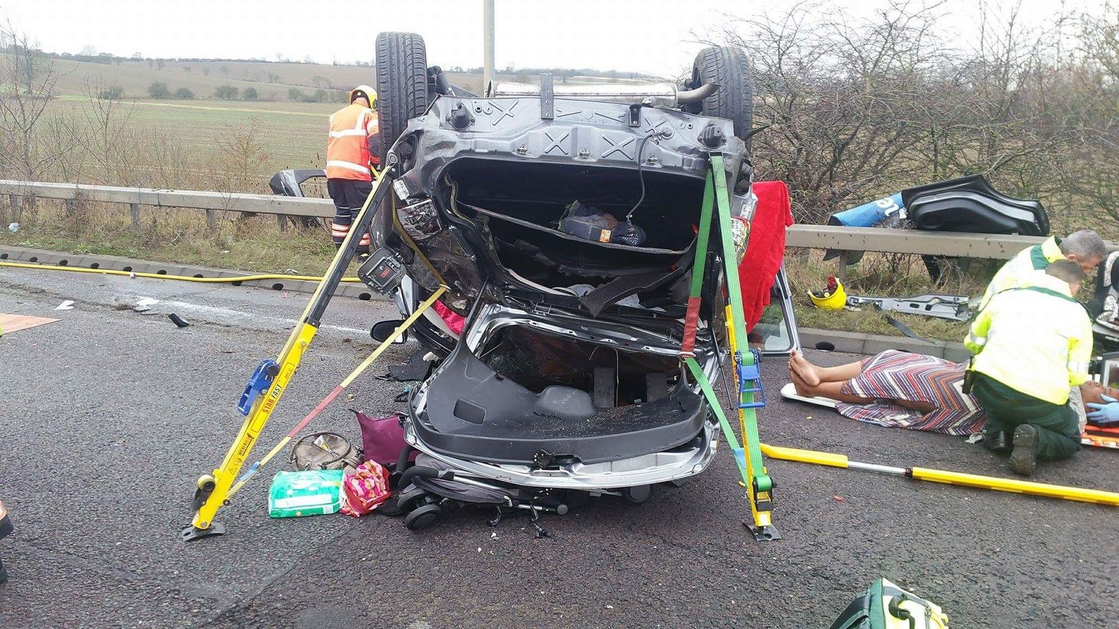 Drink-drive mum flips car 14ft with toddler in back
