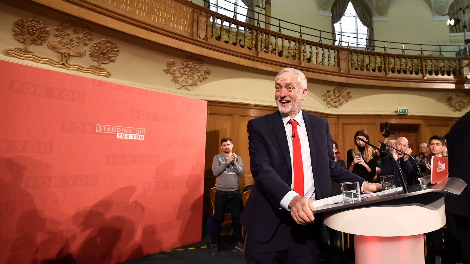 Labour Party's leader Jeremy Corbyn gives a speech in central London