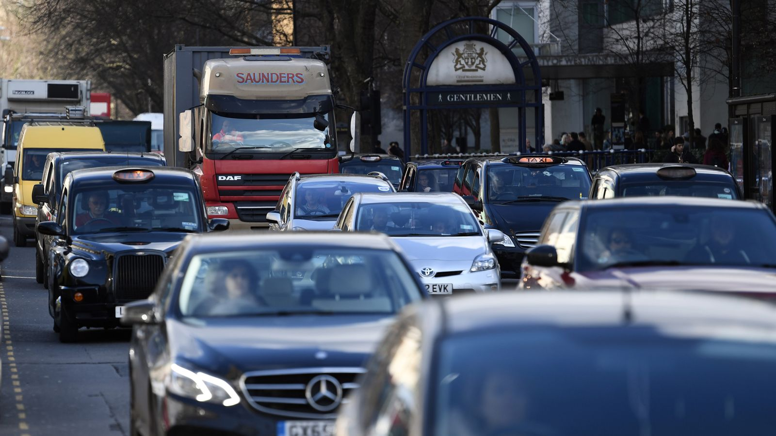 Vehicles pass along Marylebone Road, which is one of the most polluted in London