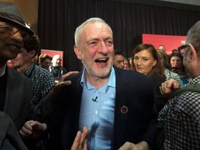 Mr Corbyn after his speech in east London