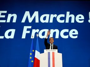 French presidential election candidate for the En Marche ! movement Emmanuel Macron delivers a speech at the Parc des Expositions in Paris, on April 23, 2017, after the first round of the Presidential election