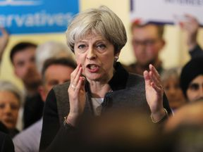 Theresa May gives a stump speech in Dudley