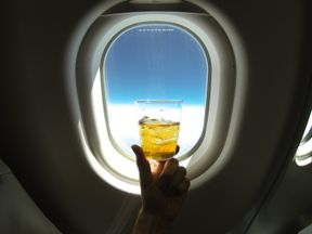 Alcoholic drink on plane