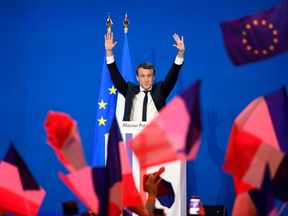 Emmanuel Macron addresses supporters in Paris